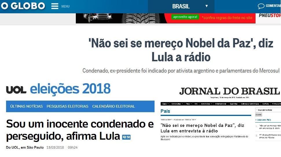 Lula é indicado ao prêmio Nobel da Paz